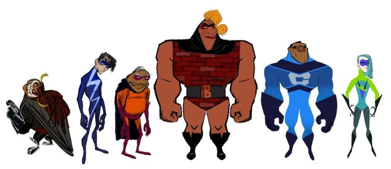 Here's all the new Supers, from left to right: Screech, He-Lectrix, Reflux, Brick, Krushhauer, Voyd